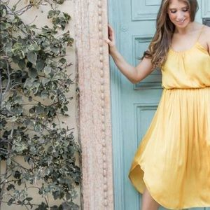 Halston Heritage Yellow Midi Dress